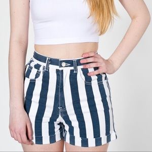 American apparel striped high waist mom shorts
